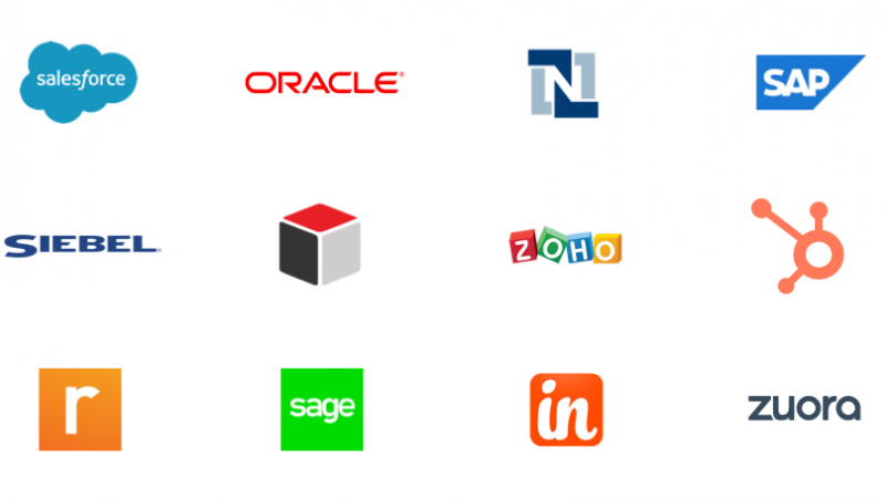 Logos representing connections using App Connect for CRM as a connector