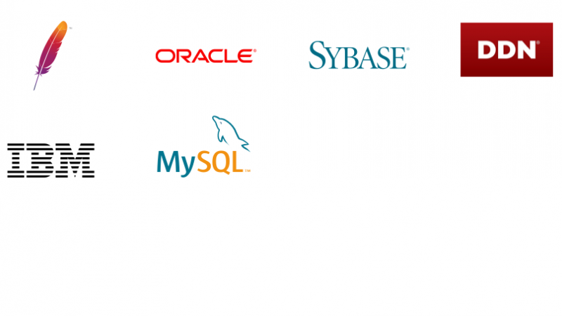 Logos representing connections using App Connect for database as a connector