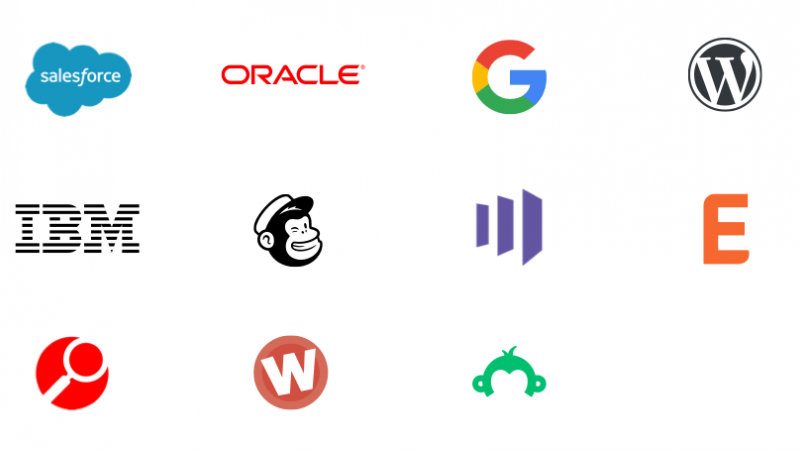 Logos representing connections using App Connect for marketing as a connector