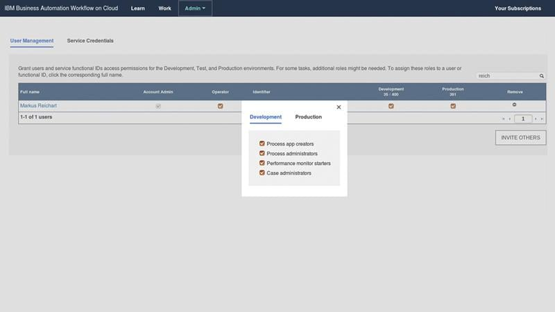 Screenshot of Business Automation Workflow user role options