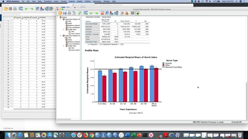 SPSS Statistics screenshot showing estimated marginal means graph