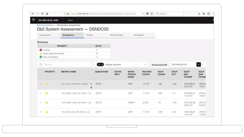 Screen shot showing the system assessment with an exception