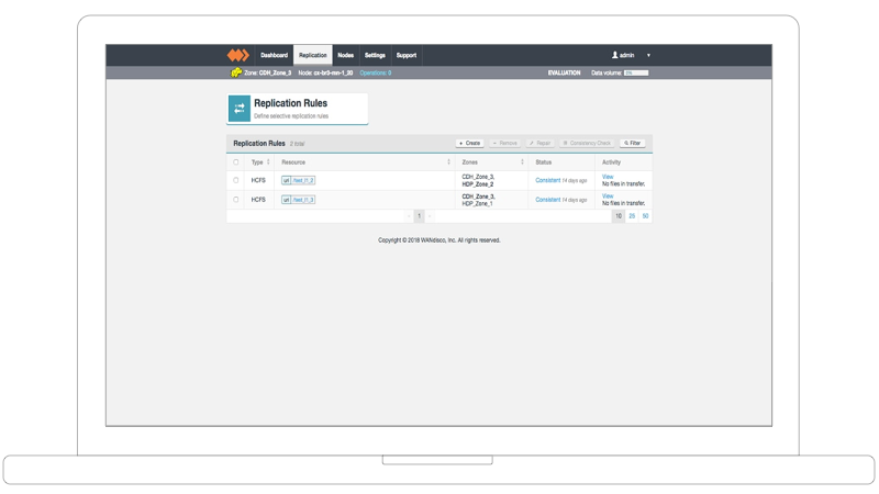 Product screen shot showing data replication management