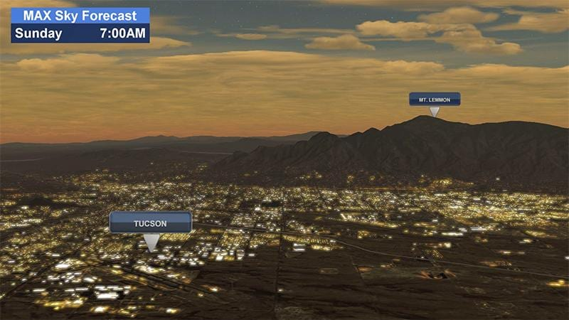 Display of a Tucson sunrise using Max Sky