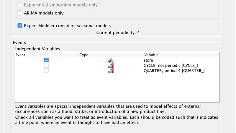 Model settings options window for Expert Modeler Criteria