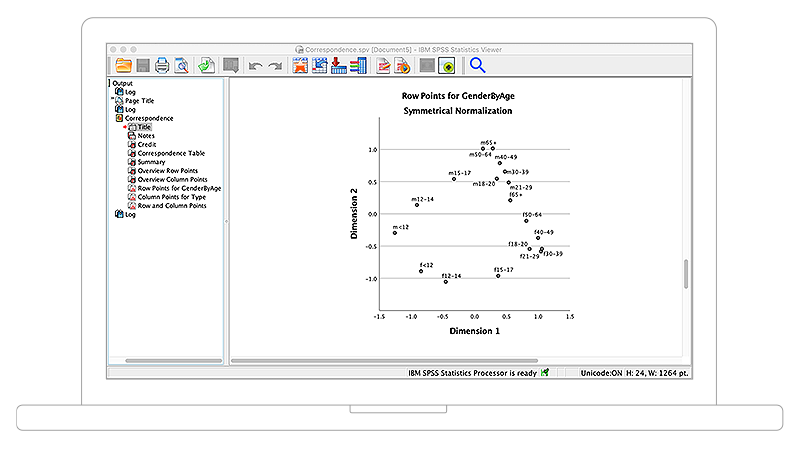 Screenshot showing row points plotted on Scatterplot graph