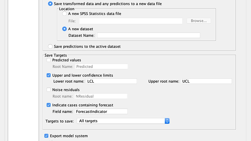 Model settings options window for Temporal Causal Modeling