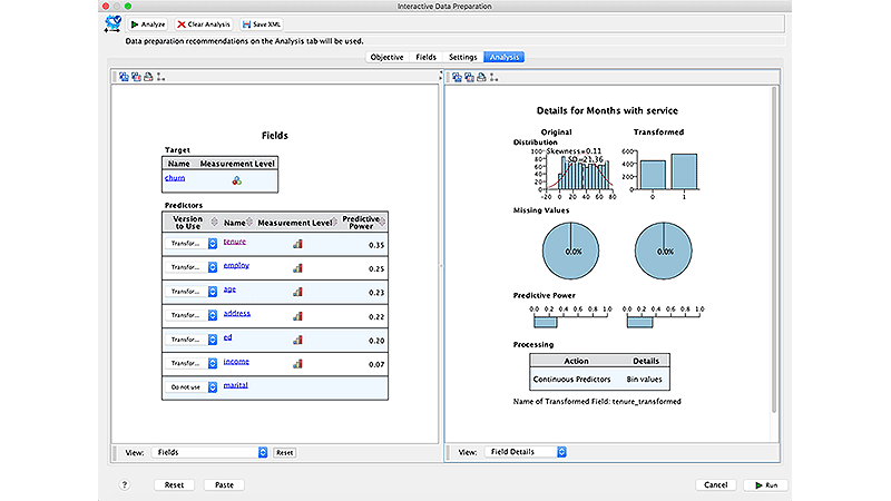 Screenshot showing interactive data preparation analysis settings