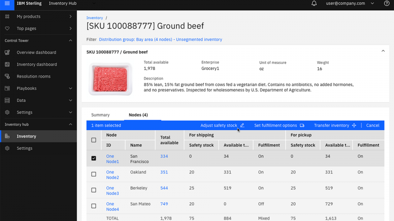 Screen capture showing how the inventory dashboard feature of IBM Sterling Control Tower handles a specific SKU inquiry, in this case, about a package of ground beef