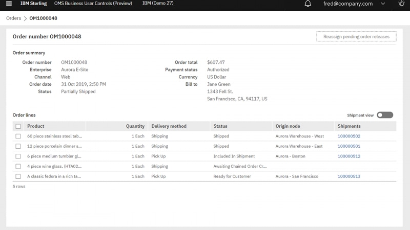Screenshot of an order summary in IBM Sterling Order Management software