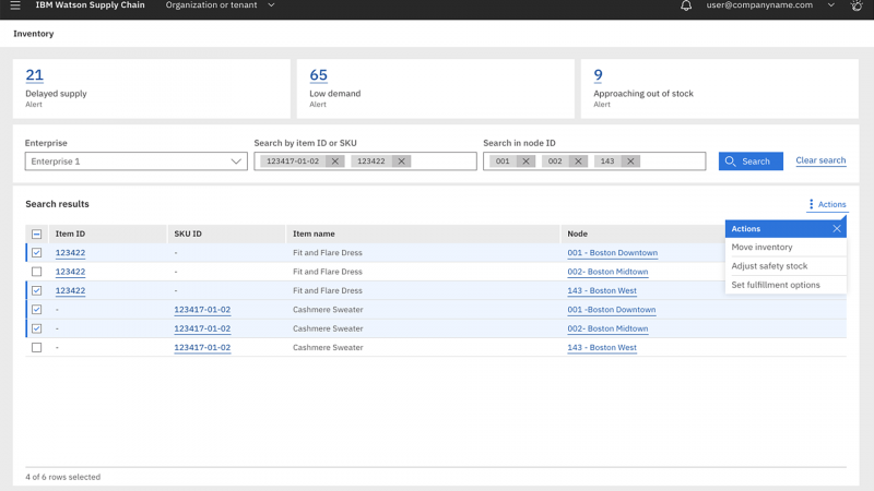 Screenshot showing inventory search results in IBM Watson Supply Chain software