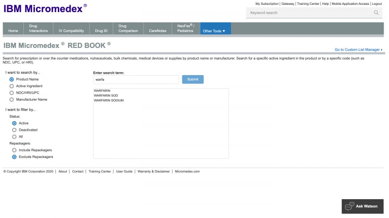 Screenshot of IBM Micromedex search tool