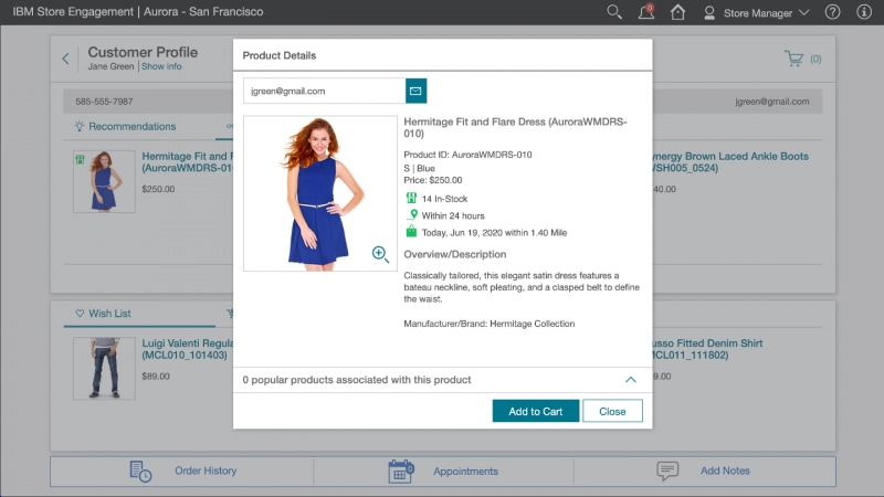 Screen capture showing IBM Store Engagement displaying product details about a dress.