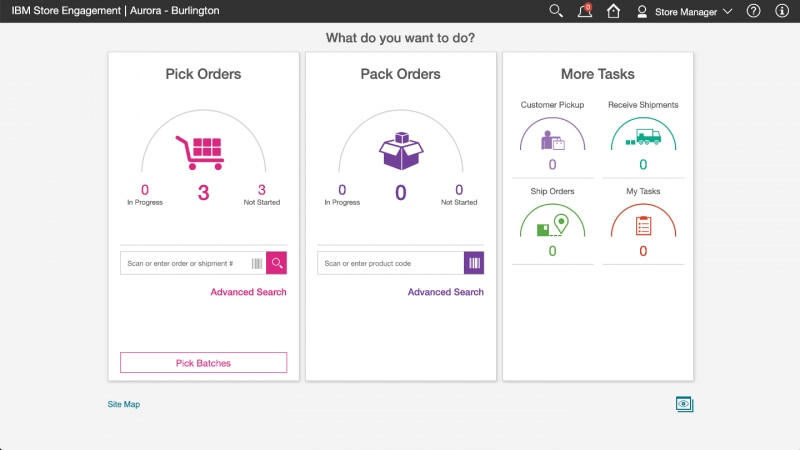Screen capture showing IBM Store Engagement displaying a fulfillment dashboard.