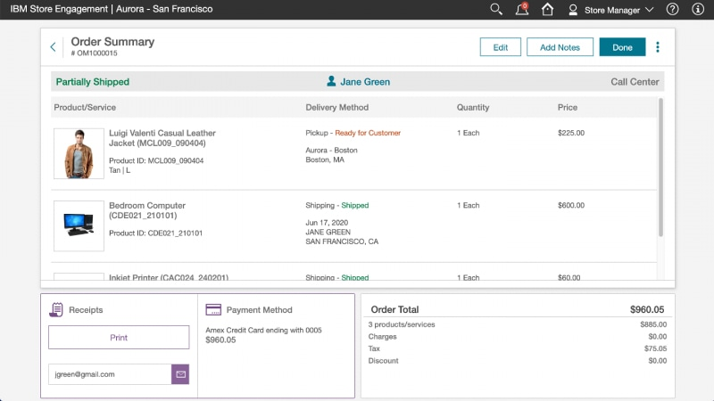 Screen capture showing IBM Store Engagement displaying order summary about a jacket purchase.