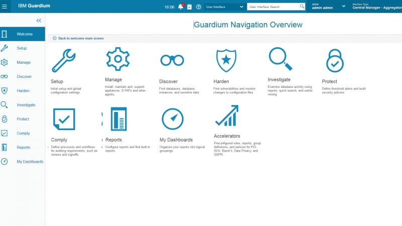 Screen shot of Guardium navigation overview