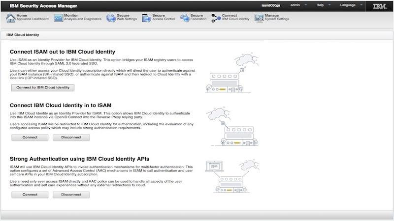 Screen shot of connecting to IBM Security Verify