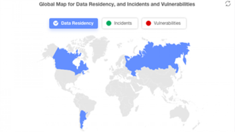 Global map for data residency, incidents and vulnerabilities