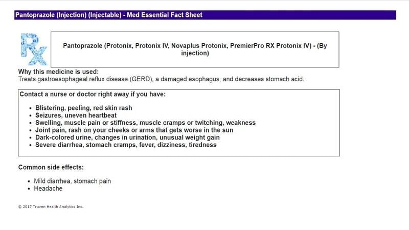 Sample of Micromedex Medication Essential Fact Sheet in English