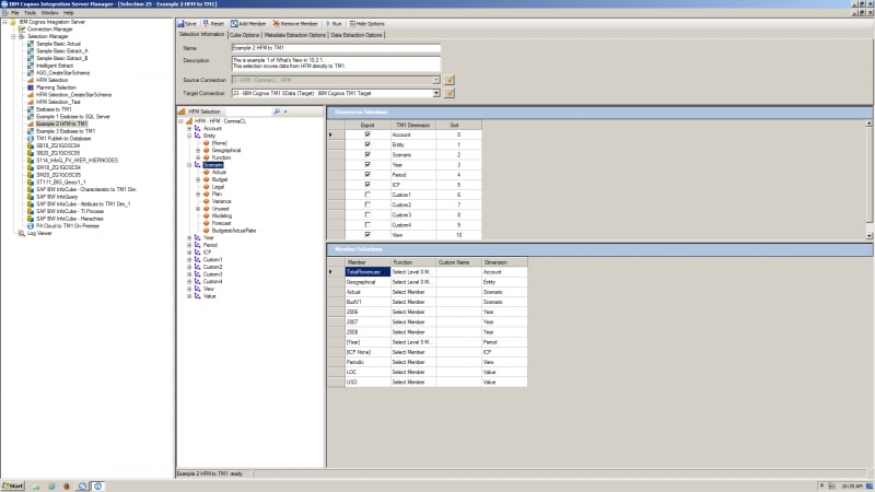 Screenshot showing single reporting support in IBM Cognos Integration Server