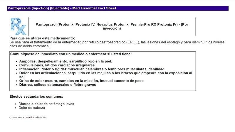 Sample of Micromedex Medication Essential Fact Sheet in Spanish