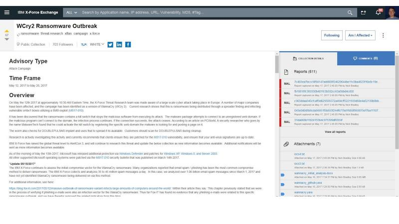Screen shot of a research advisory on IBM X-Force Exchange