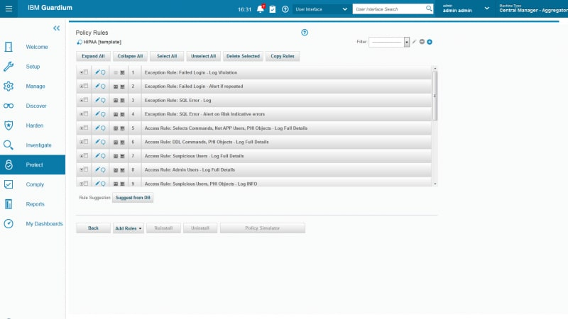 Screen shot of policy creation interface