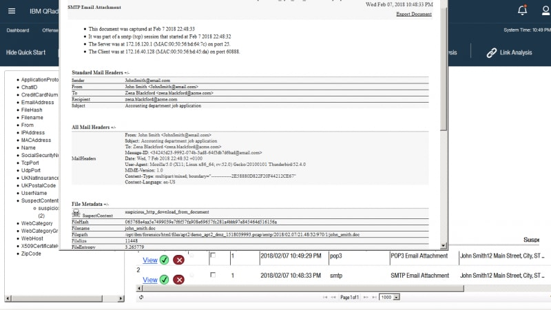 Screenshot of email forensics