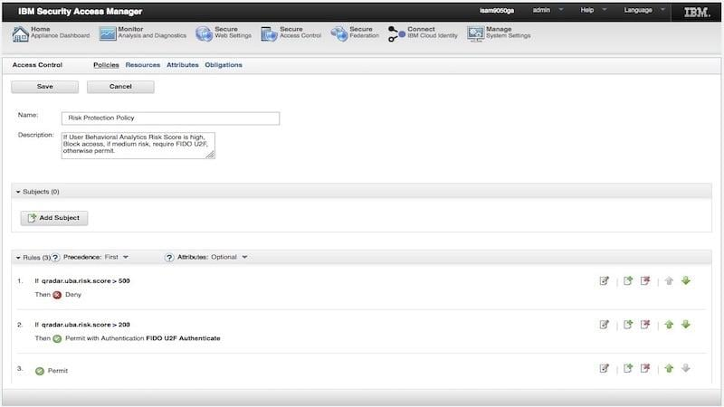 Screen shot of risk-based authentication policies