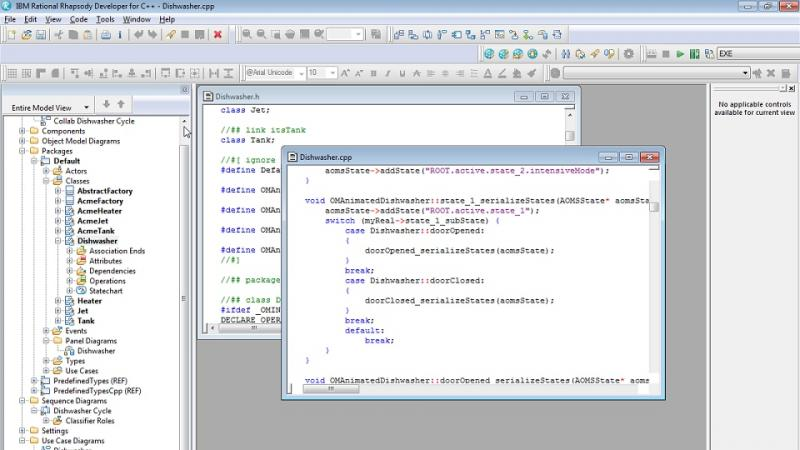 screen capture of code generation in IBM Rational Rhapsody Developer for C++