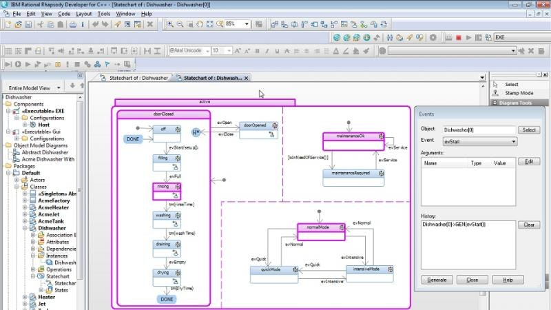 Screenshot of simulation and model-based testing in IBM Rational Rhapsody Developer for C++