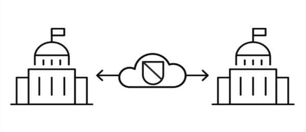 Graphic illustrating the capability of IBM MQ on the cloud to more securely transfer messages, while minimizing hardware, software and provisioning requirements