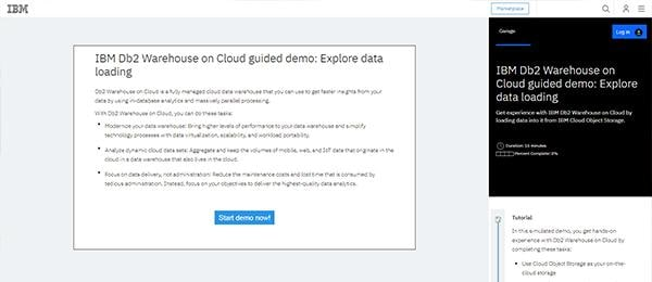 Screen capture of introductory page to the IBM Db2 Warehouse on Cloud guided tour