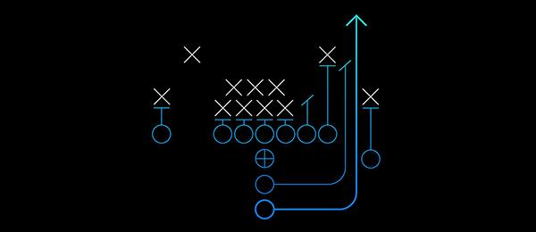 An American football sports play with X's and O's symbolizing how a data platform can help connect the dots between data