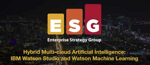 Enterprise Strategy Group logo for hybrid multi-cloud artificial intelligence: IBM Watson Studio and Watson machine learning.