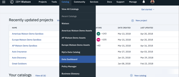 screenshot of IBM Watson Knowledge Catalog demo with updated projects