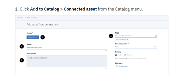 screenshot of IBM Watson Knowledge Catalog tutorial with connected asset