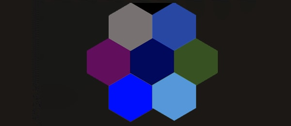 a series of six different-colored hexagons connected in a circle