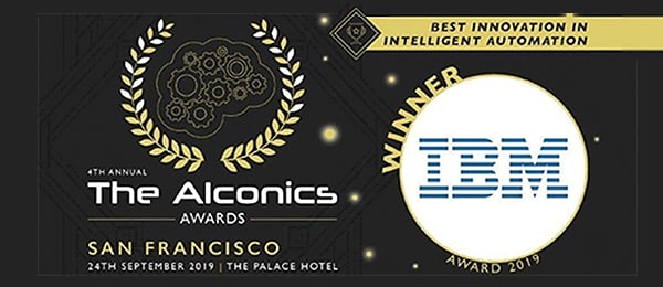 IBM logo and Alconics award symbol in front of black and gold background