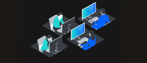 isometric image of people at computers
