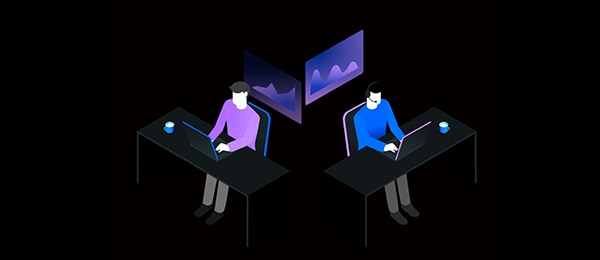 Illustration of two persons working at desks, using laptop computers