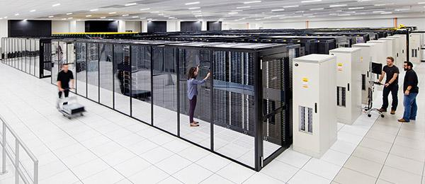 People working in a large database unit