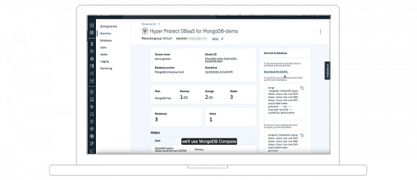 Screenshot showing Hyper Protect DBaaS for MongoDB-Demo Overview page