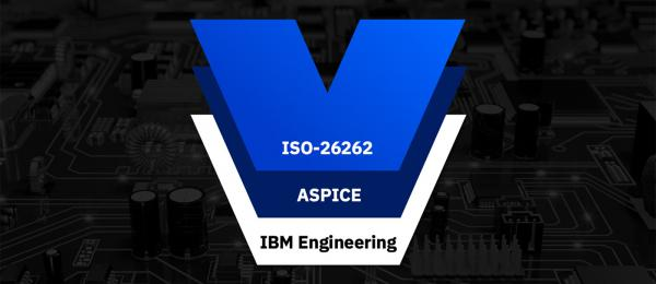 "Dark, reverse-negative image of circuit board surrounding a centered diagram with three overlapping shapes, each labeled either ""ISO-26262,"" ""ASPICE,"" or ""IBM Engineering."""
