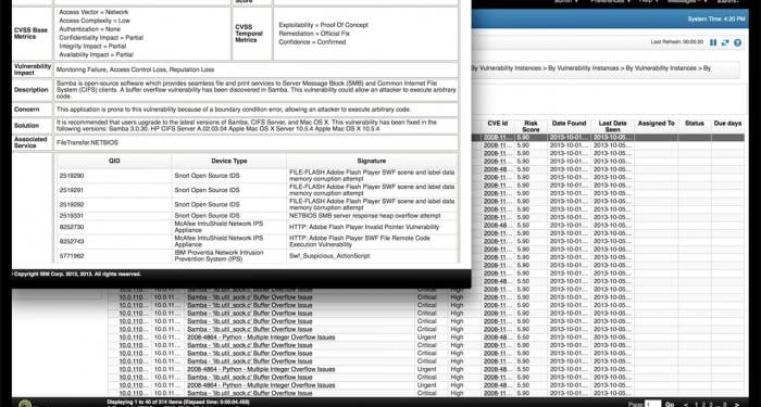 Screen shot of enhanced, unified view of vulnerabilities