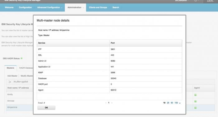 Screen shot of multi-master node administration in IBM Security Guardium Key Lifecycle Manager
