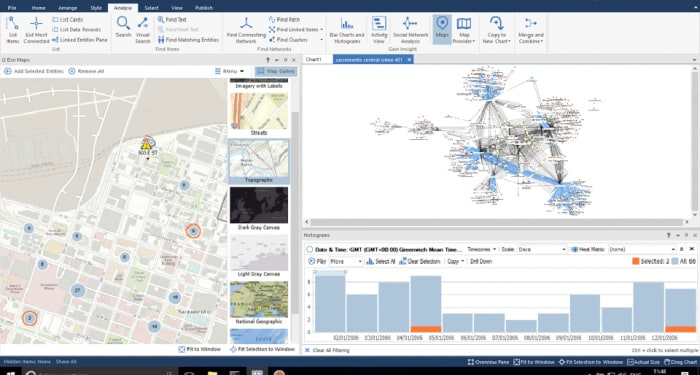 Screen shot of location-based reporting available in IBM i2 Connect