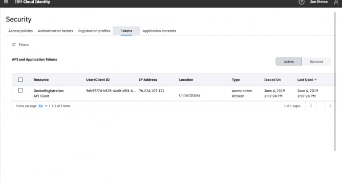 Screen shot of interface to add and manage application and API tokens