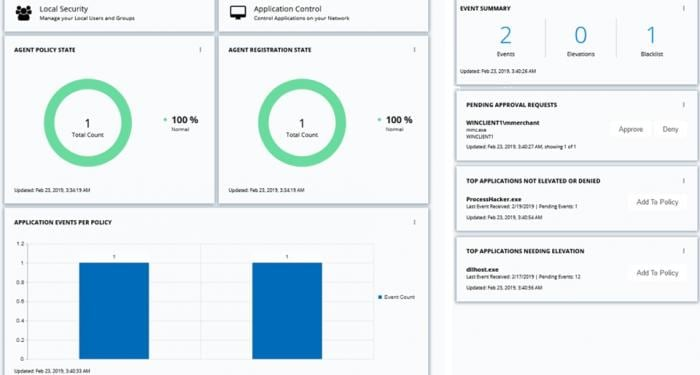 Captura de pantalla del informe proporcionado por IBM Security Privilege Manager.