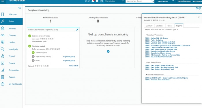 Screen shot of Guardium dashboard to analyze GDPR compliance